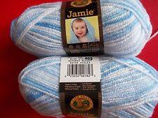 Lion Brand Jamie baby yarn, Blue Stripes, lot of 2 (109 yds each)