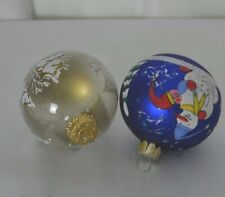 Painted Glass Christmas Tree Ornaments Set of 2 Snowman Winter 70's Blue Gold