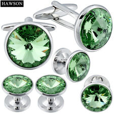 HAWSON Cufflink and Studs Tuxedo Set Silver Color with Crystals in Transparent