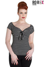Hell Bunny Hannah Striped Rockabilly Vintage Retro 50's Casual Blouse Jersey Top