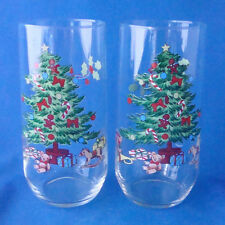 Luminarc Noel Christmas Tree dinnerware set of 2 tumblers water glasses