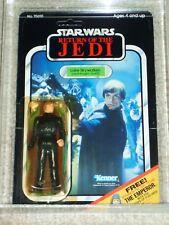 Vintage Star Wars 1983 AFA 80 LUKE SKYWALKER JEDI Knght BLUE SABER ROTJ BACK MOC