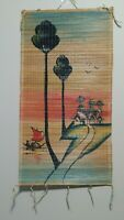 Burma Fisher Man Two Trees Village Painted Scrolls Bamboo Wall Hanging Decor