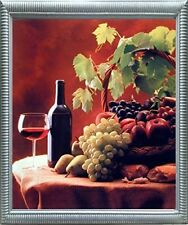 Wine & Fruit (Grapes and Apples) Still Life Kitchen Wall Decor Framed Picture