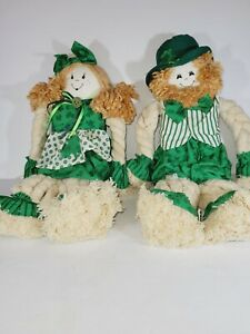 Adorable Leprechaun Raggedy Boy & Girl Yarn Dolls -- Irish St. Patrick's Day