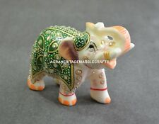 """3"""" Marble Elephant White Hand Painted Handmade Home Decorative Gifts Decor H672"""