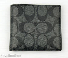 New Coach Men Billfold Double Fold Logo Charcoal Black PVC Wallet F75083 $150