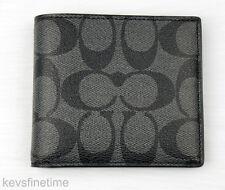 New Coach Men Billfold Double Fold Logo Charcoal Black PVC Wallet F75083 $150