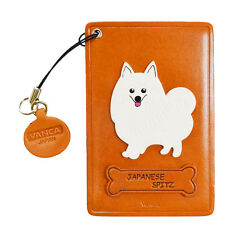 Japanese Spitz Leather Dog Commuter Id/Pass Card Holder *Vanca* japan #26629