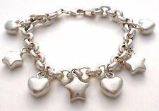 "Sterling Silver Puffed Heart & Star Charm Bracelet Italian Vintage 7"" Puffed 925"