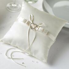 Ringkissen aus Satin für die Hochzeit Herz 'Strassherz' creme / ivory