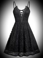 New Black Gothic Lace Fit & Flare Cute Strappy Short Skater Dress size 3XL 22 24