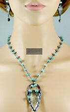 NEW! SEA GLASS INSPIRED GUNMETAL ARROW HEAD & AMAZONITE  NECKLACE & EARRINGS 25""