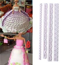 4pcs Frill Edge Sugarcraft Cutter Mold Lace Ribbon Fondant Cake Decorating Tool