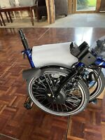 Electric Brompton Folding Bike (BNIB) with 6 gears in Bolt Blue Lacquer - M6L