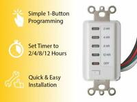 Bathroom Fan Auto Shut Off Timer 2-4-8-12 Hour Preset Countdown Wall Switch