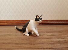 Dollshouse Miniatura ~ Negro y Blanco Gato de #2 ~