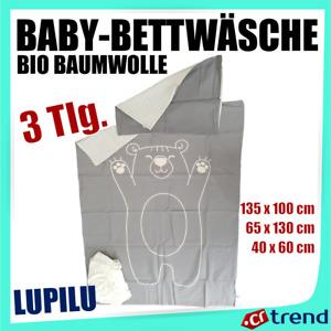 LUPILU pure collection organic Bio Baby Bettwäsche Set 3-Tlg Reine Baumwolle WOW