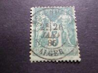 FRANCE, 1875, timbre CLASSIQUE 75, SAGE oblitéré ALGER, CACHET ROND VF STAMP