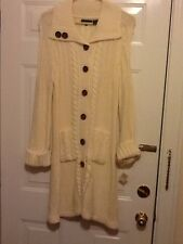 Women's Knitted Buttondown Coat Sweater Size M Natural Color New with Tag
