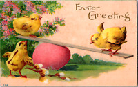 Vintage 1913 Easter Greeting Chicks Playing Seesaw over Egg Embossed Postcard