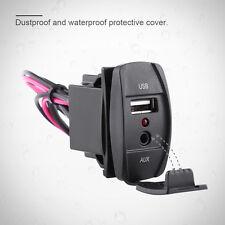 Car Dash Flush Mount USB Port 3.5mm AUX Extension Cable Lead Mounting Panel CO