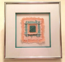 Fiber Abstracts by Artists Wes and Judy Lindberg Matted Framed Coral and Teal