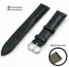 Black Croco Quick Release Leather Replacement Watch Band Strap Steel Buckle 1041