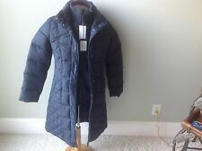 Bloomingdales Navy Blue Jacket Coat Lined New  S Small 1554 Quilted Down Filled