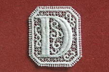 Oblong letter/initial D - sew-on lace motif/applique/patch/craft/card making