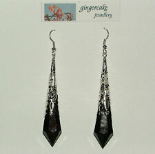 LONG BLACK VICTORIAN STYLE EARRINGS SILVER PLATED FILIGREE ACRYLIC FP