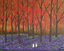 Jack Russell Terrier Parson dog Outsider Folk Art Print Todd Young Autumn Forest