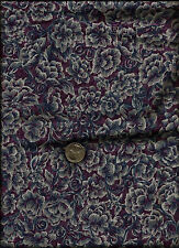 Nice Floral Print grey dusty blue pink on grape Fabric by St.Nicole for Benartex