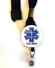 CHAPLAIN LANYARD & ID BADGE RETRACTABLE REEL BADGE,,MEDICAL,