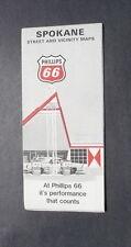 1969 Spokane Washington street map Phillips 66 oil