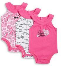 NEW CALVIN KLEIN BABY'S GIRL'S 3 PACK SLEEVELESS HALTER BODYSUIT SZ 0-3M