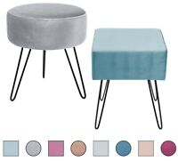 Velvet Footrest Stool - Mid-Century Modern Luxe Ottoman - Round/Square, 4 Colors