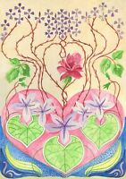 OrIgInAl FoLk ART WaTeRCoLoR PaInTiNg VinTaGe ShAbbY ChIc PiNk RoSe PuRpLe HEaRt