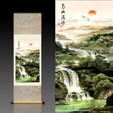 Chinese Silk Scroll Painting Lofty Mountains and Flowing Water (高山流水)