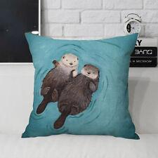 Cute Cartoon Otter Cotton Linen Pillow Case Sofa Throw Cushion Covers Home Decor