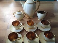 REDUCED Carlton Ware Yellow Glazed 15 Piece Coffee Set Gilt Handles&Interiors