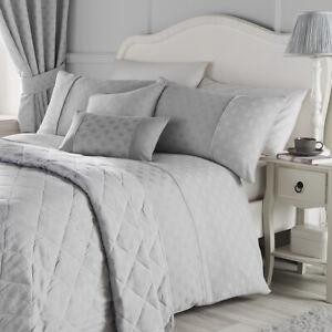Serene NOUVEAU FAN Silver Jacquard Bedroom & Curtains Collection