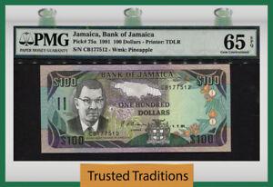 "TT PK 75a 1991 JAMAICA 100 DOLLARS ""SAMUEL SHARPE"" PMG 65 EPQ GEM UNC POP TWO!"