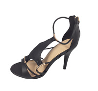 Womens Ladies Black New Look Faux Leather High Heel Strappy Shoes Size UK 7 New