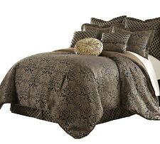 Sterling Creek 9-Piece Jacquard Black Gold Floral Oversized Comforter Set, Queen