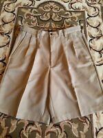 Haggar COMFORT WAIST Performance Wear Pleated-Front Shorts Men's Khaki SZ 32 EUC