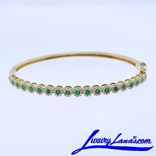 Women's 14K Yellow Gold Diamond Emerald Bangle Bracelet
