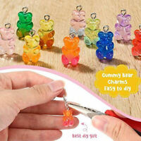 10pcs Cute Gummy Bear Resin Charms Necklace Pendant Earring Jewelry DIY