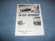 """1955 Austin-Healey 100 Vintage Ad """"From 0 to 60mph in 10.5 Seconds"""""""