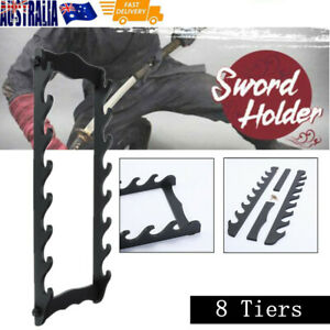 8-Tier Wooden Sword Holder Wall Mount Samurai Stand Display Katana Flute Rack